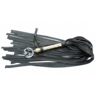 Эксклюзивная кожаная плеть с металлической ручкой