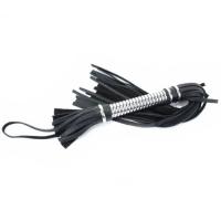 Кожаная плеть с витой серебристой ручкой