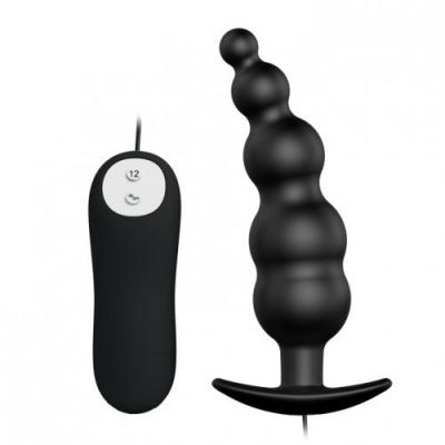 Анальная елочка черного цвета с проводным пультом и 12 режимами вибрации