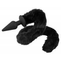 Черная анальная пробка с кошачьим хвостом