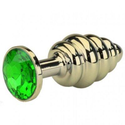 Анальная пробка Gold Small Plug рифленая зеленая