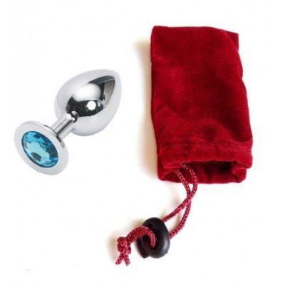 Большая анальная пробка Anal Jewelry Plug Silver Light Blue L