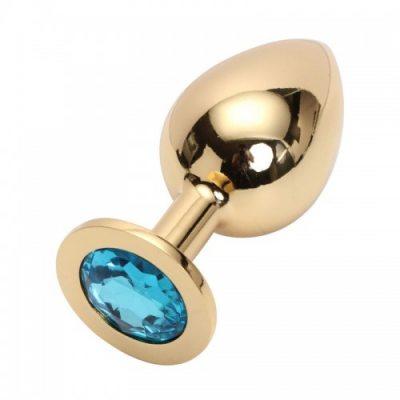 Стальная пробка Jewelry Plug Medium Gold голубая