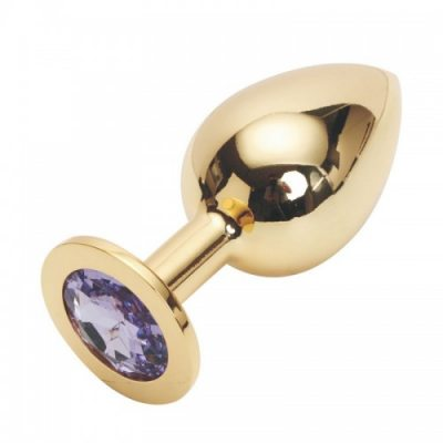 Стальная пробка Jewelry Plug Medium Gold нежно-фиолетовая