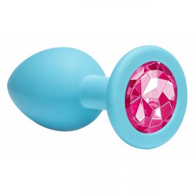 Анальная пробка Emotions Cutie Medium Turquoise pink crystal