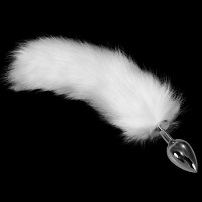 Анальная пробка с белым хвостиком Metal Anal Tail