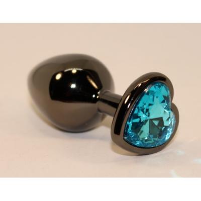 Анальная пробка черного цвета с ярким кристаллом голубого цвета в форме сердечка размер M