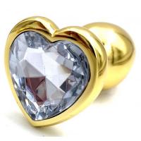 Золотая металлическая анальная пробка с прозрачным камушком в виде сердечка M