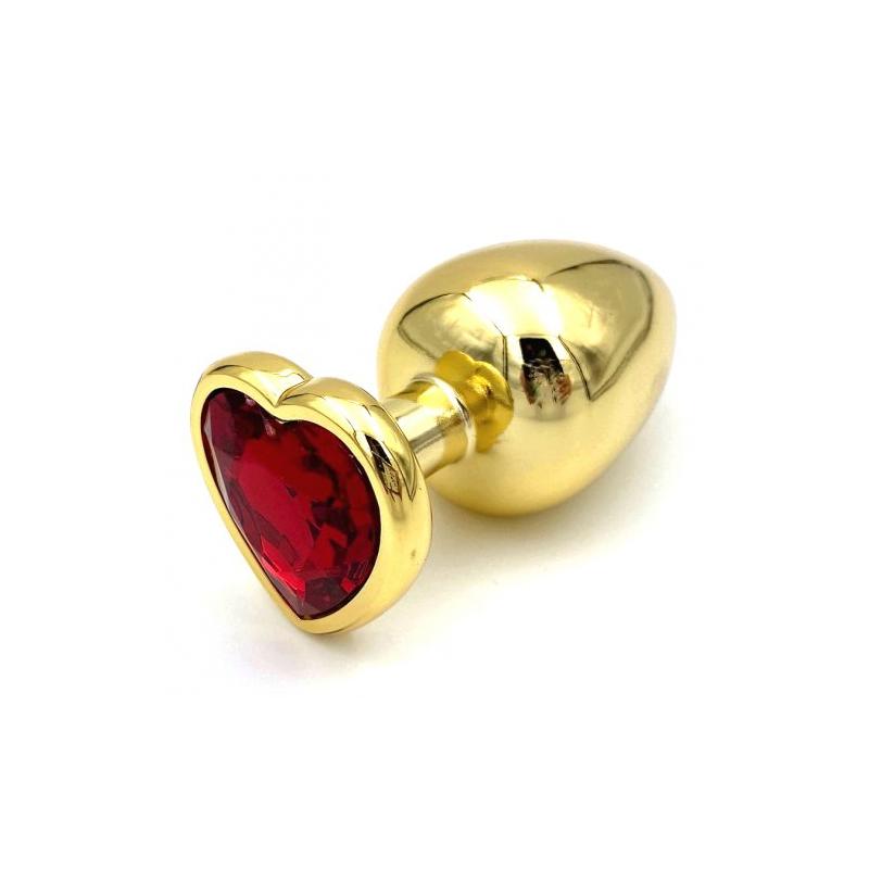 Золотая металлическая анальная пробка с красным камушком в виде сердечка L