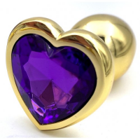 Золотая металлическая анальная пробка с фиолетовым камушком в виде сердечка L