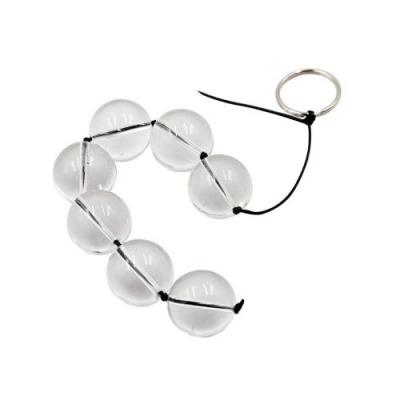 Анальная цепочка со стеклянными прозрачными бусинами диаметром 2,8 см