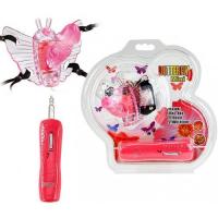 Розовая вибробабочка на ремешках Butterfly Mini с проводным пультом