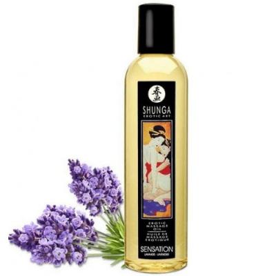 Возбуждающее массажное масло Shunga Sensation с ароматом лаванды 250 мл