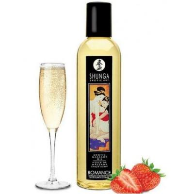Возбуждающее массажное масло Shunga Romance Sparkling клубника с шампанским 250 мл