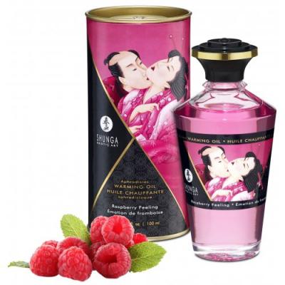 Разогревающее массажное масло Shunga Raspberry Feeling c ароматом малины 100 мл