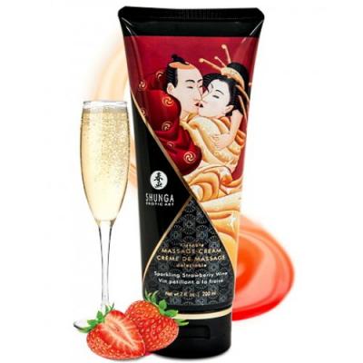 Съедобный массажный крем Shunga Sparkling Strawberry Wine со вкусом клубники в шампанском 200 мл