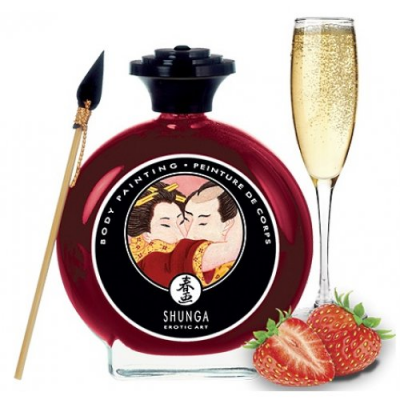 Декоративная крем-краска для тела Shunga Sparkling Strawberry Wine клубника с шампанским 100 мл