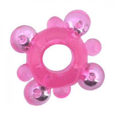Розовое кольцо-ограничитель с бусинами