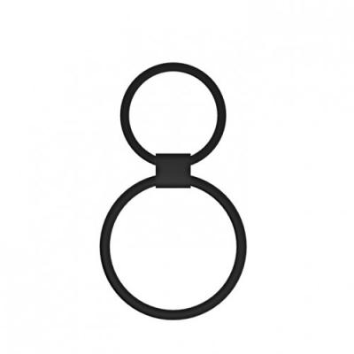 Двойное эреционное кольцо на член черного цвета