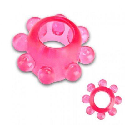 Тянущееся розовое кольцо с массажными шариками
