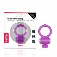 Виброкольцо пурпурное Power Heart Clit Cockring