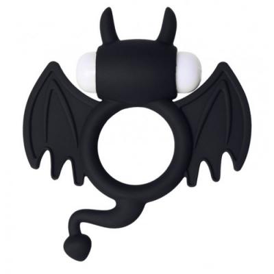 Эрекционное виброкольцо Jos Cocky Devil черного цвета