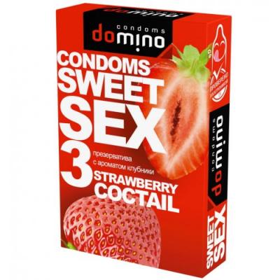 Оральные презервативы Domino клубника