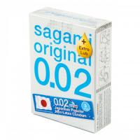 Полиуретановые презервативы Sagami Original 0,02 Extra Lub 3 шт