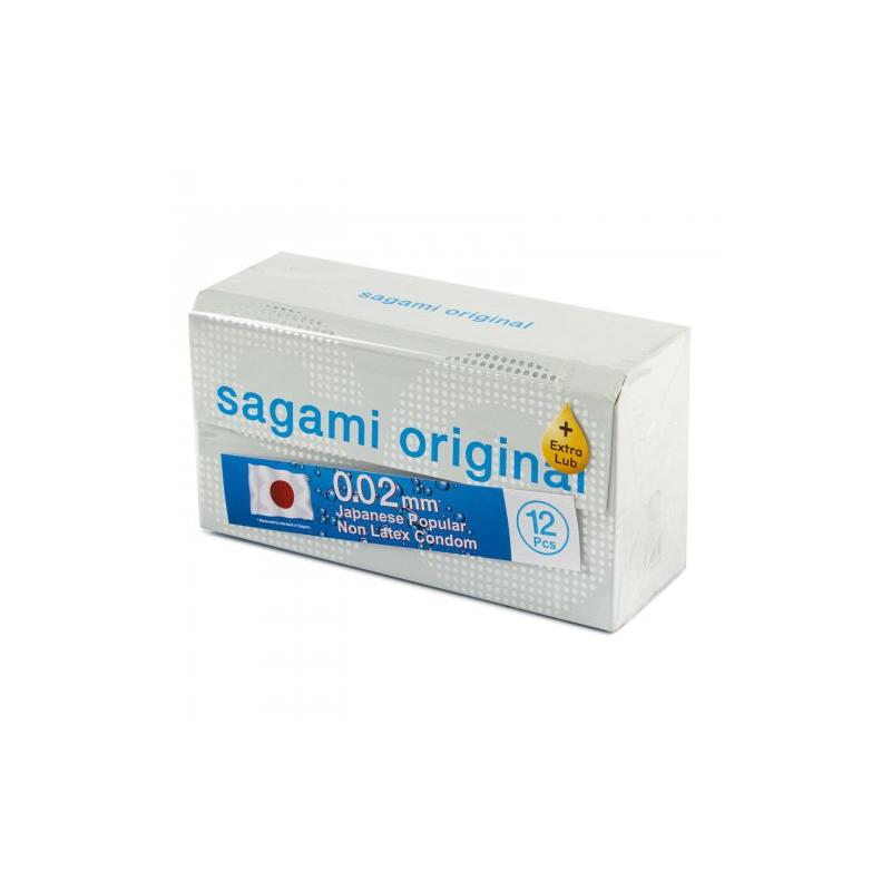 Полиуретановые презервативы Sagami Original 0,02 Extra Lub 12 шт