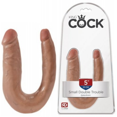 Двойной фаллос King Cock U-Shaped Small Double Trouble Tan