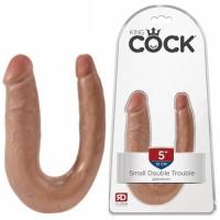 Двойной фаллос King Cock U-Shaped Small Double Trouble Tan