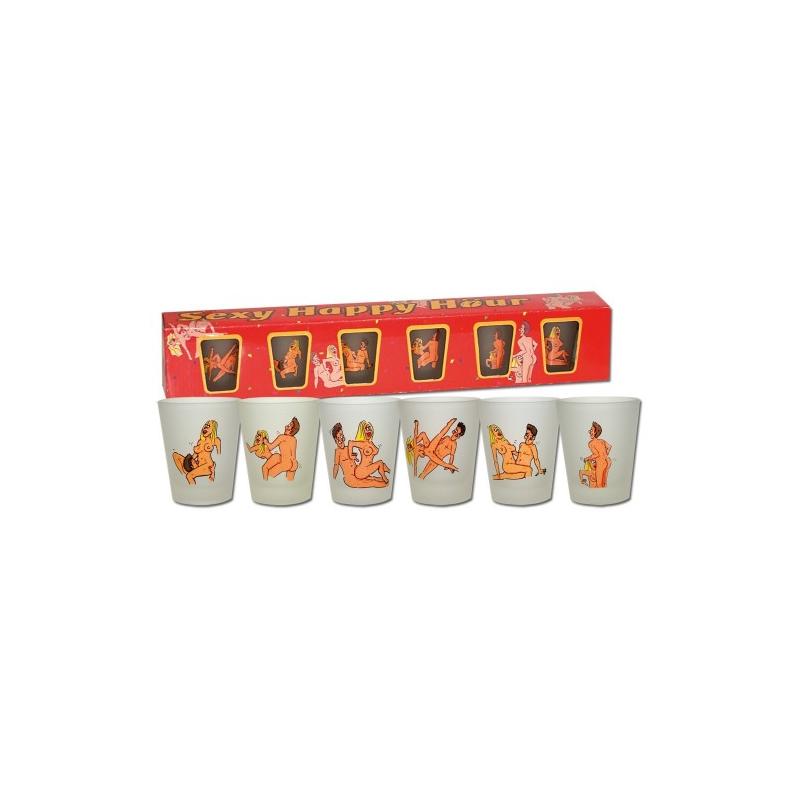 Набор стеклянных рюмочек с позами Sexy Happy Hour