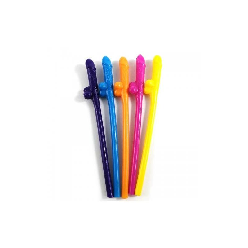 Разноцветные трубочки для коктейлей Penis Straws Coloured 10 шт.