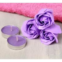 Подарочный набор Shine Bright - мыльные розы 3 шт., 2 свечи, полотенце