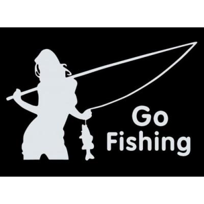Виниловая наклейка на авто белая Go Fishing