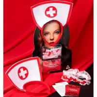 Эротический набор Территория соблазна: Медсестра - ободок, подвязка, 10 карт