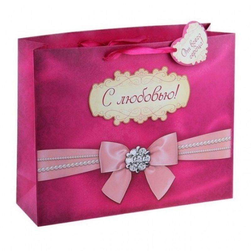 Подарочный пакет Романтичный бант 23 х 18 см