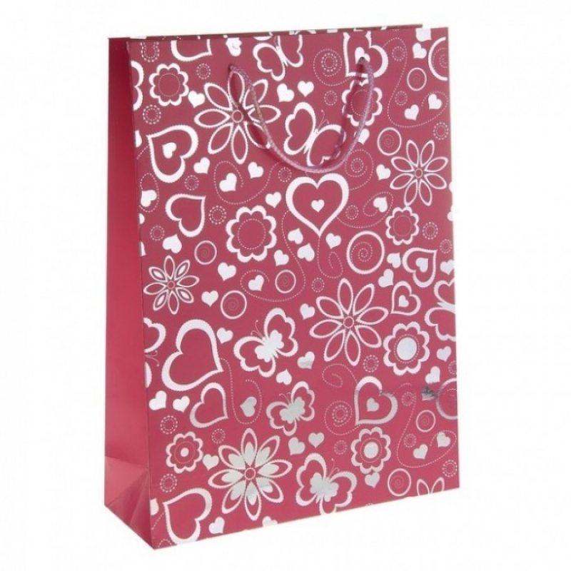 Подарочный пакет Сердечки розовый 26 х 32 см