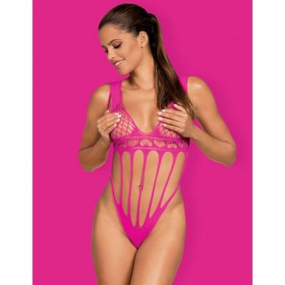 Смелое розовое боди-сетка с соблазнительными вырезами S/L