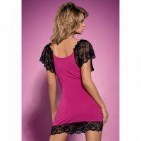 Розово-чёрная сорочка с цветочным кружевом Imperia Chemise S/M