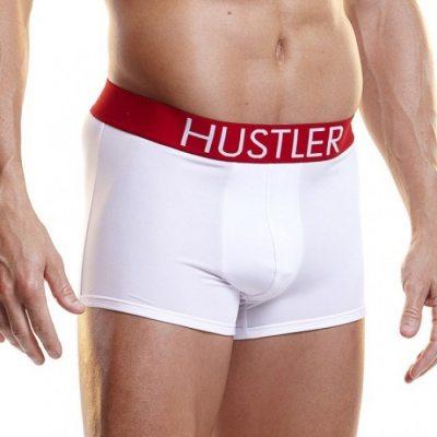 Белые мужские боксеры Hustler на широкой резинке из микрофибры L