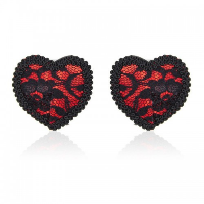 Кружевные пэстисы в форме сердца красно-черные