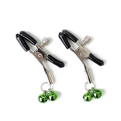 Зажимы для сосков с двойным бубенчиком зеленые