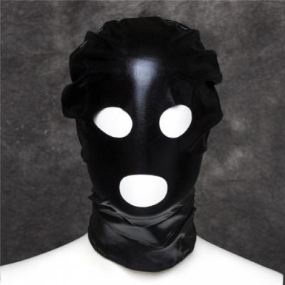 Черная блестящая маска из спандекса