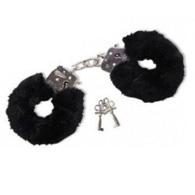 Металлические наручники с мехом черные