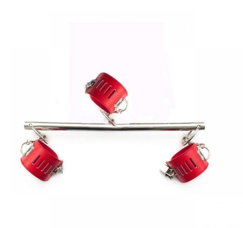 Бондажная распорка красный ошейник и наручники