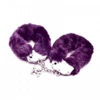 Фиолетовые металлические наручники с мехом Fetish Pleasure