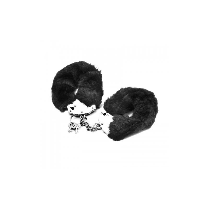 Черные металлические наручники с мехом Fetish Pleasure