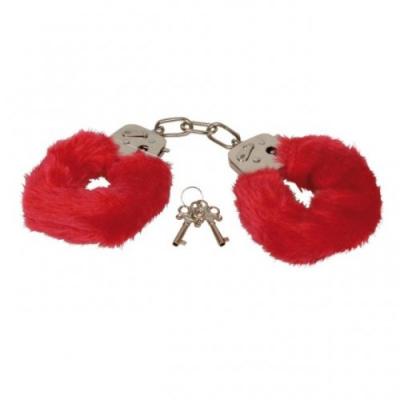 Красные металлические наручники с мехом