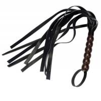 Черная плеть с ребристой рукоятью